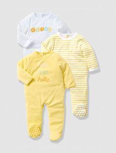 Lote de 3 pijamas bebé AMARILLO CLARO LISO