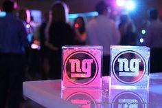 LED Glow Photo Cubes with NY Giants Football Bar Mtzvah Logo {Chad ...