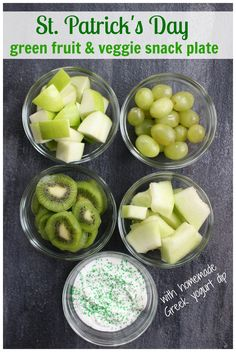 Patrick's Day Snack Idea - Mom to Mom Nutrition - Get your kids in the holiday spirit with this St. Patrick's Day snack idea. All you need is your favorite green fruits and veggies and favorite dip! St Patrick Day Snacks, St Patrick Day Activities, Hp Sauce, Veggie Snacks, Healthy Snacks, Healthy Recipes, Dip Recipes, All You Need Is, Sant Patrick