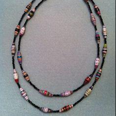 Paper Bead Necklace - popespizazz@gmail.com