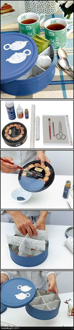 Old Round Cookie Tin...re-purposed into a beautiful tea tin!!  Make a divider out of cardboard & paper and paint and stencil the tin.  Too cute!