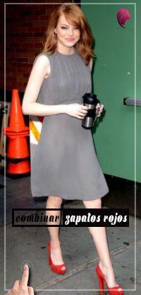 como combinar zapatos rojos con un vestido gris  cb28b4bce14b