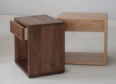 The Cube bedside tables from Natural Bed Company in oak and walnut. We have just launched our latest design! A stylish, modern bedside table with a useful storage drawer. Available in a range of hardwoods. http://www.naturalbedcompany.co.uk/shop/bedside-drawers/cube-bedside-drawer-table/