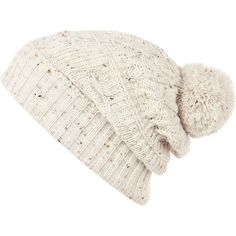 c46d65293e8 Ecru cable kniit bobble beanie ✓These hats are so in season!