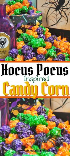 Halloween Treat: Hocus Pocus Inspired Candy Corn recipe for when you watch Disney's Hocus Pocus during family movie night. Halloween Desserts, Halloween Food For Party, Halloween Signs, Diy Halloween Decorations, Disney Halloween, Spooky Halloween, Holidays Halloween, Halloween Treats, Halloween Table