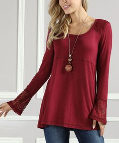 Take a look at this Suzanne Betro | Burgundy Lace-Trim Scoop Neck Top - Plus Too today!