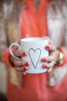 gilded heart mug