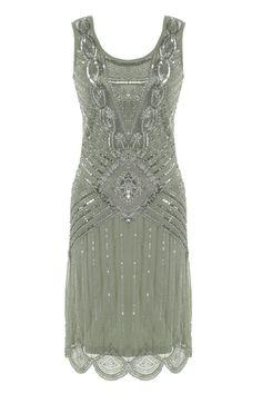 GREY SEQUIN CHARLESTON FLAPPER uk 8 - 16 GATSBY dress 20's ART DECO  silver
