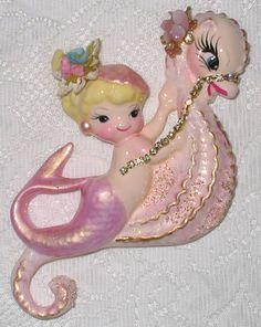 DARLING VINTAGE MERMAID/SEAHORSE, via Flickr.