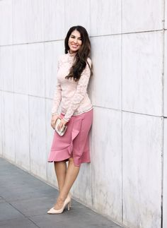 Light Pink Lace Top and Rose Asymmetrical Skirt with Ruffles. Date Night Looks. Outfits for work. Work Wear. Professional Style. Office Style.