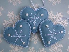Felt Christmas decorations. Set of 3 Embroidered  Snowflake Heart ornaments.CIJUK10