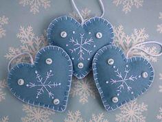 Felt Christmas decorations. Set of 3 Embroidered Snowflake Heart ornaments.CIJUK10