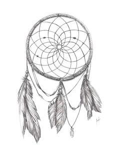 Dream catcher tattoo drawing: