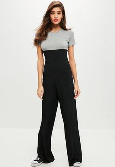 3ff06c59c81 Grey and black ribbed jumpsuit with corset detail