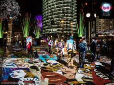 Berlin Fest of Light, plaza ground plane projection & illuminated sculpture