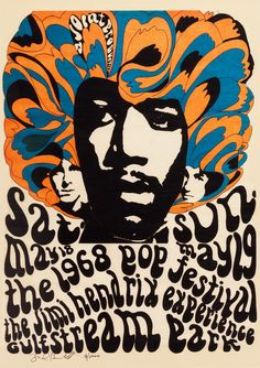 ☮ American Hippie Psychedelic Music Poster ~ The Jimi Hendrix Experience at The Miami Pop Festival, 1968 Rock Posters, Band Posters, Psychedelic Rock, Psychedelic Posters, Vintage Concert Posters, Vintage Posters, Affiche Jimi Hendrix, Mundo Hippie, Jimi Hendricks