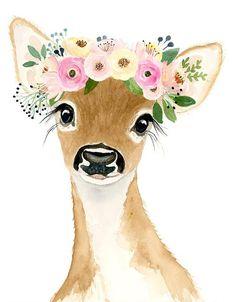 Baby deer print Deer fawn painting Woodland DecorNursery