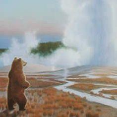 Yellowstone National Park - Bearing Witness #art #artist #bear #geyser #grizzly-bear #montana #monte-dolack #old-faithful #poster…