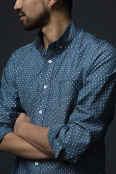 A spin on the standard chambray staple - that's our Blue Polka Dot Buttondown. Perfect for layering and switching things up a bit.