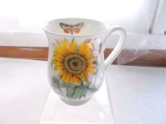 Roy Kirkham Fine Bone China Botanical Flowers Coffee Cup Mug Sunflower Butterfly…