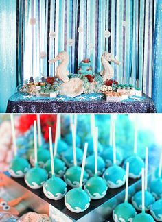 "Under the Sea ""Princess Mermaid"" Birthday Party: The lovely sweets table with sea horses."
