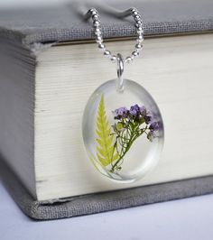 Real Plant Jewelry Pressed Flower Fern in Resin by LOVEnLAVISH, $11.00