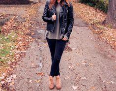 Black Leather Jacket, Army Green Top, Black Distressed Denim, and Wedge Booties   Maryssa Albert Blog