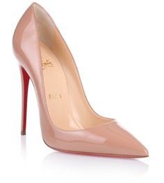 Beige patent leather pump with a pointed toe from Christian Louboutin. The So Kate pump has a stiletto heel that measures approximately 120 mm.True to sizeRed leather soleMade in ItalyDesigner colour: NudeCLICK for Louboutin red soles care advice!