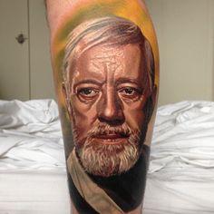 obi one kenobi from Star Wars  Tattoo, May the force be with you, princess leia, luke skywalker, darth vadder, hans solo, chewy,   www.talesofthetatt.com