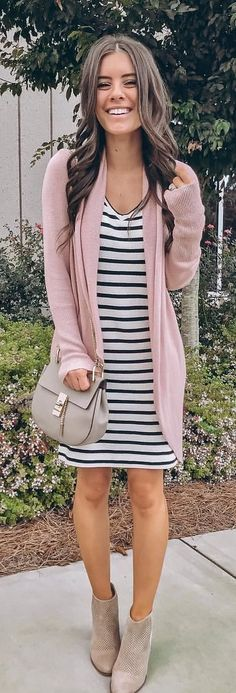 2357b0e2b8 10+ Popular Fall Outfits To Update Your Wardrobe. Striped Dress OutfitPink  Cardigan OutfitsPink Shoes ...