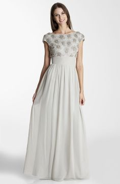 JS Collections Embellished Cap Sleeve Chiffon Gown @Lyst