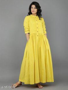 Dresses - Yellow Khadi Dress with Gathers Eerbare kleding Eng Modest clothing Fr Vêtement modeste Du Bescheidene Kleidung Sp ropa modesta Ru Скромная одежда Modest Fashion, Hijab Fashion, Boho Fashion, Fashion Dresses, Modest Clothing, Linen Dresses, Cotton Dresses, Casual Dresses, Indian Dresses