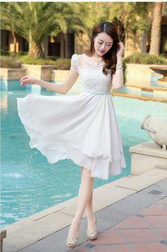 40 Simple And Sexy Korean Fashion Looks - Stylishwife Lace Dress, Dress Up, White Dress, Chiffon Dresses, Lace Chiffon, Japanese Fashion, Asian Fashion, Women's Fashion Dresses, Casual Dresses