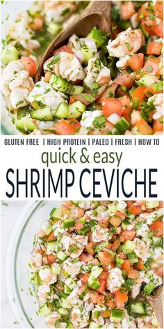 Quick & Easy Fresh Shrimp Ceviche filled with tender shrimp, tomatoes, cucumber, jalapeno and lime juice. It's an ultra healthy bite that's perfect for a side dish, an appetizer or main dish! #ceviche #shrimpceviche #cevicherecipes #shrimprecipes #sidedishideas #appetizerideas #lunchrecipes #seafoodrecipes #whole30 #lowcarbrecipes #joyfulhealthyeats Clean Eating Recipes, Lunch Recipes, Seafood Recipes, Healthy Dinner Recipes, Beef Recipes, Salad Recipes, Healthy Meals, Easy Recipes, Shrimp Ceviche