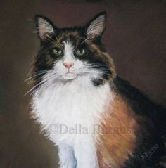 Feline Art.Cats Calico Cat.by Della Burgus -- Art Helping Animals