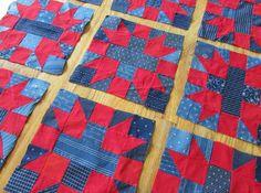 "Sensational! 26 Indigo Blue & Turkey Red Antique QUILT Blocks 10 1/2""  Vintageblessings"