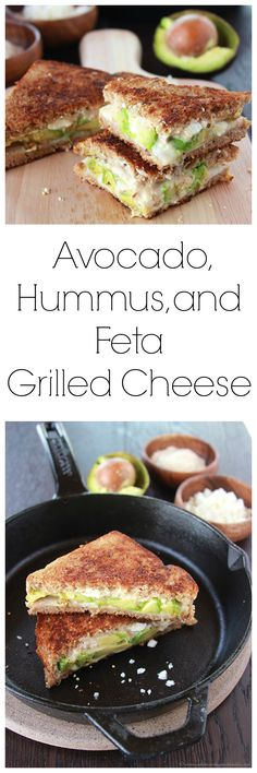 Hummus, and Feta Grilled Cheese on is a savory adventure and will be your new favorite grilled cheese sandwich!Avocado, Hummus, and Feta Grilled Cheese on is a savory adventure and will be your new favorite grilled cheese sandwich! Avocado Hummus, Grilled Avocado, Avocado Toast, I Love Food, Good Food, Yummy Food, Tasty, Grilling Recipes, Cooking Recipes