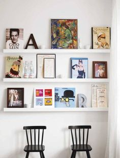 Stylizimo - Design Voice, wonderful interior Design Universe  Have you thought of all the options you have when it comes to decorating with pictures and art? If you are redecorating quite often, a great idea would be to place them on a shelf like they did in some of these photos, and maybe add some other decorating items like letters, flowers, books etc. So when you get tired of it, you can just replace it with something else. Suits ME just perfect     Here are some different ideas for you…