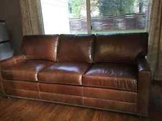 Custom Ethan Allen Bennett brown leather couch sofa MINT condition