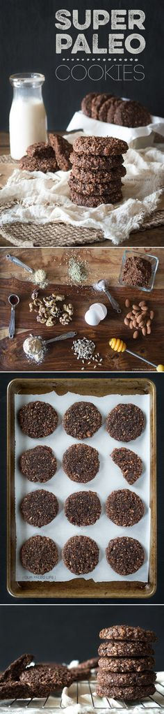 Super Paleo Cookies recipe: chocolatey, crunchy, chewy, packed with good, energy boosting ingredients #paleo #chocolate