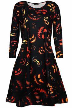 Kids Girls Halloween Printed Skull Bat Spider Web Party Long Sleeve Swing Dress