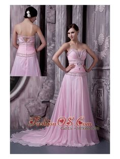Baby Pink 2013 Prom / Celebrity Dress A-line Sweetheart Chiffon Beading Sweep Train  http://www.fashionos.com/  http://www.facebook.com/quinceaneradress.fashionos.us  This one is a great example of what we mean. It features a deep V-neck covered by a small fabric, same V style in the back with an embellished strap above, which undoubtedly adds the charming and noble feeling of this dress.