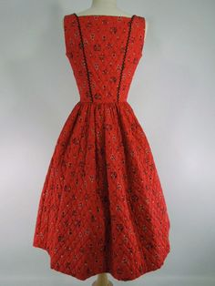 50s Red Quilted Dirndl Dress by Serbin Swiss-Ette - sm