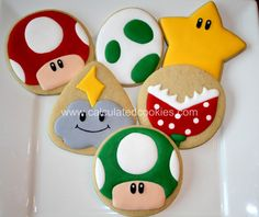 Custom Mario themed sugar cookies by Calculated Cookies