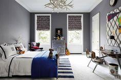 Architectural Digest - boy's rooms - boys room, boys bedroom, ralph lauren wallpaper, vintage locker chest, skull print, Jacques Adnet Bed, ...
