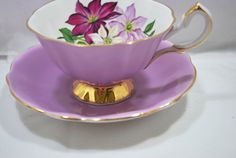 Footed Tea cup and Saucer in Porcelain Purple by Dupasseaupresent