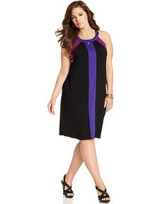 Spense Plus Size Sleeveless Colorblock Keyhole A-Line Dress - Plus Size Dresses - Plus Sizes - Macy's