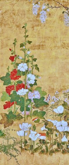 Detail. Flowers. Japanese folding screen. Watanabe Shiko. 18th century. Rimpa School. Freer and Sackler Galleries.
