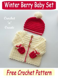 Beautiful three piece baby outfit, a free crochet pattern consisting of cardigan, mitts and beanie hat, find the pattern on crochetncreate. #crochet #crochetforbaby #babycrochet #freebabycrochetpatterns #babycrochetsweater #freecrochetpattern Crochet Baby Cardigan Free Pattern, Crochet Baby Sweaters, Baby Sweater Patterns, Crochet Baby Clothes, Crochet Gifts, Baby Patterns, Crochet Patterns, Crochet Winter, Crochet For Kids