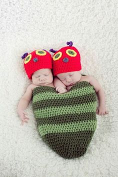 Cute caterpillar cocoon and my twin boys modeling! www.facebook.com/losicreations